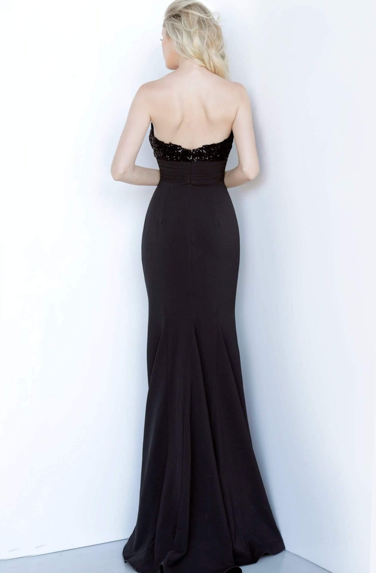 Jovani - 3312 Strapless Embellished Trumpet Dress In Black