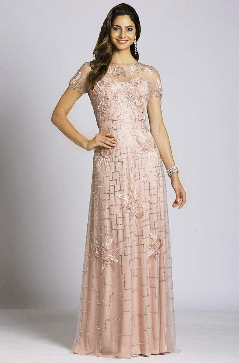 Lara Dresses - 33499 Beaded Floral Applique Evening Gown In Blush