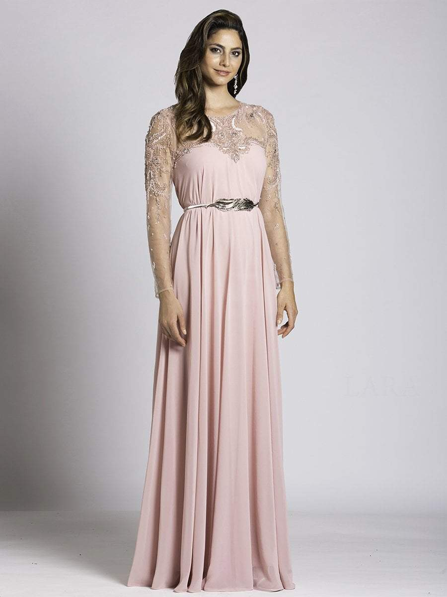Lara Dresses - 33529 Embellished Illusion Jewel A-line Dress In Blush