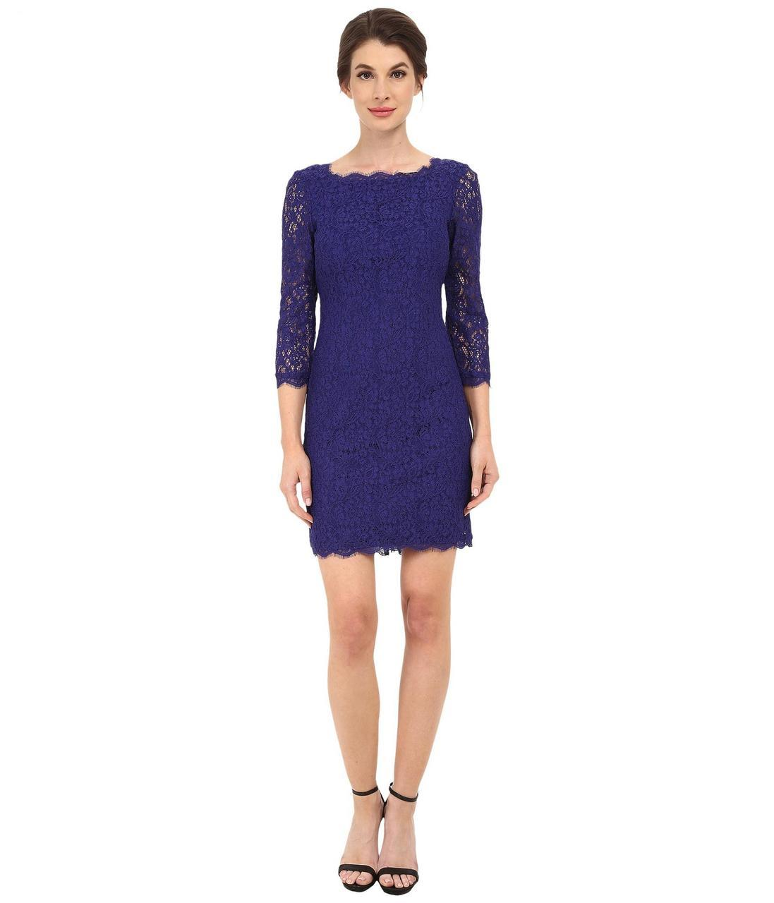 Adrianna Papell - Quarter Length Sleeve Lace Dress 41864780 in Purple
