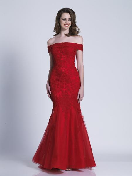 Dave & Johnny - Off Shoulder Lace Ornate Mermaid Gown 3377 In Red