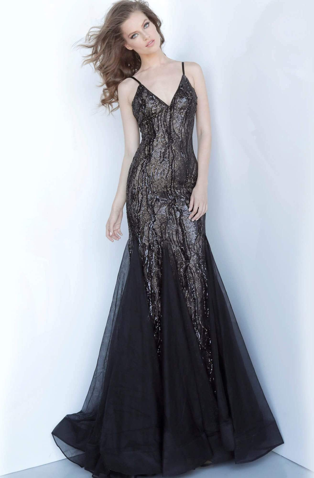 Jovani - 3382 Spaghetti Straps Novelty Sequined Mermaid Gown In Black