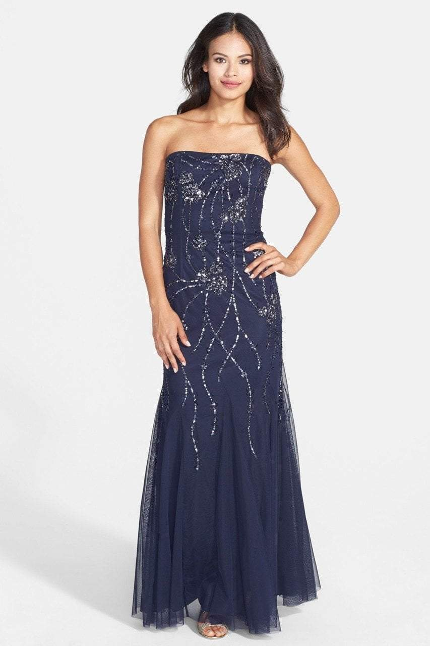 Adrianna Papell - Embellished Strapless Gown 91897540 in Blue