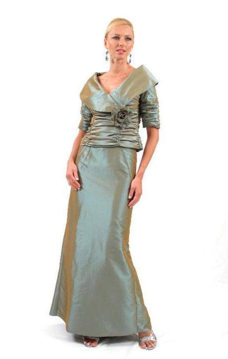 Daymor Couture - Ruched Bodice Long Gown 232 in Gray