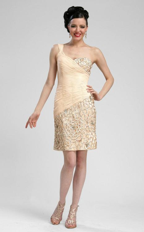Sue Wong - N3330 One Shoulder Sequined Sheath Dress in Neutral
