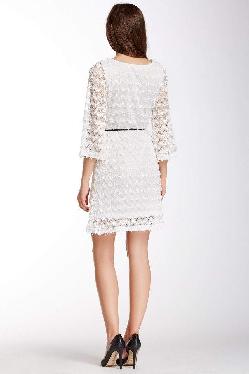 Sharagano - 4W4F164G5 Zigzag Textured Lace Sleeve Dress in White