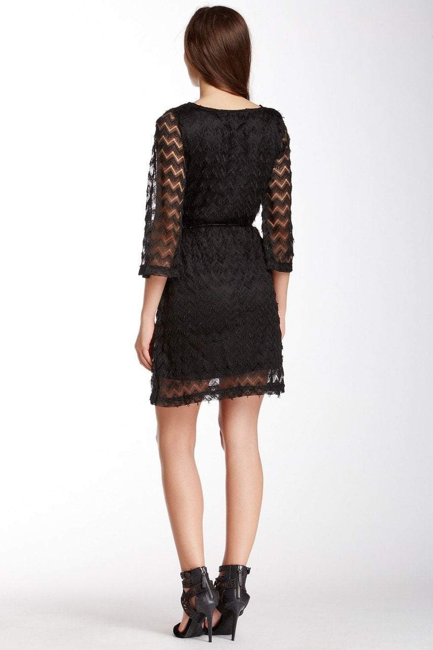 Sharagano - 4W4F164G5 Zigzag Textured Lace Sleeve Dress in Black