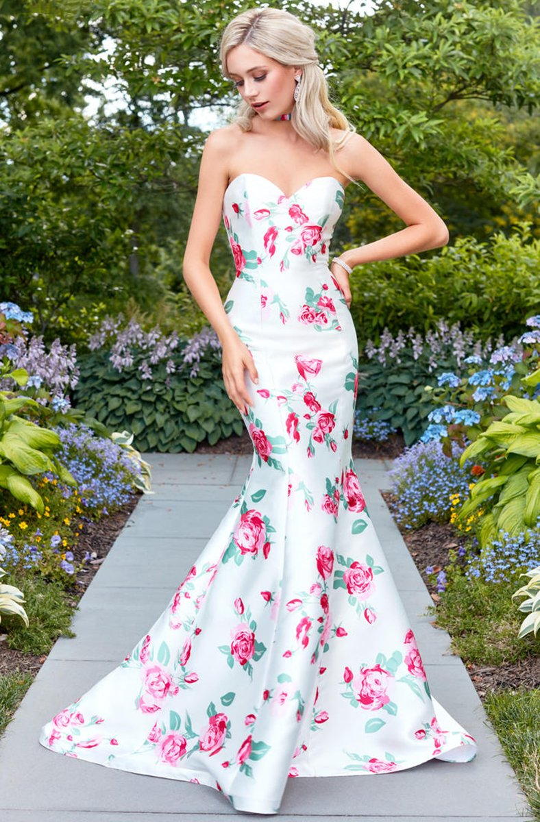 Clarisse - 3424 Strapless Floral Mermaid Gown in White and Print