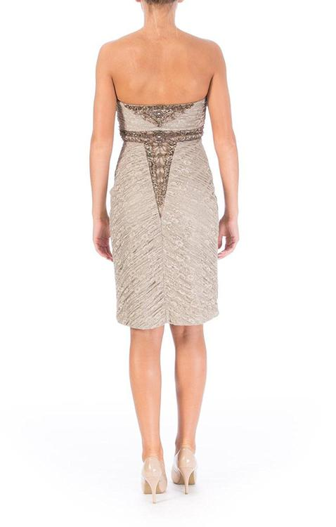 Sue Wong - N2424 Embellished Floral Lace Sheath Dress in Brown