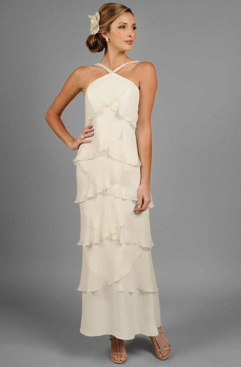 Daymor Couture - Halter Tiered Sheath Long Evening Dress 3451 in White