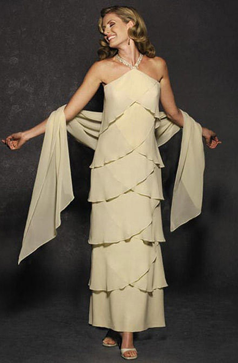 Daymor Couture - Halter Tiered Sheath Long Evening Dress 3451 in Neutral