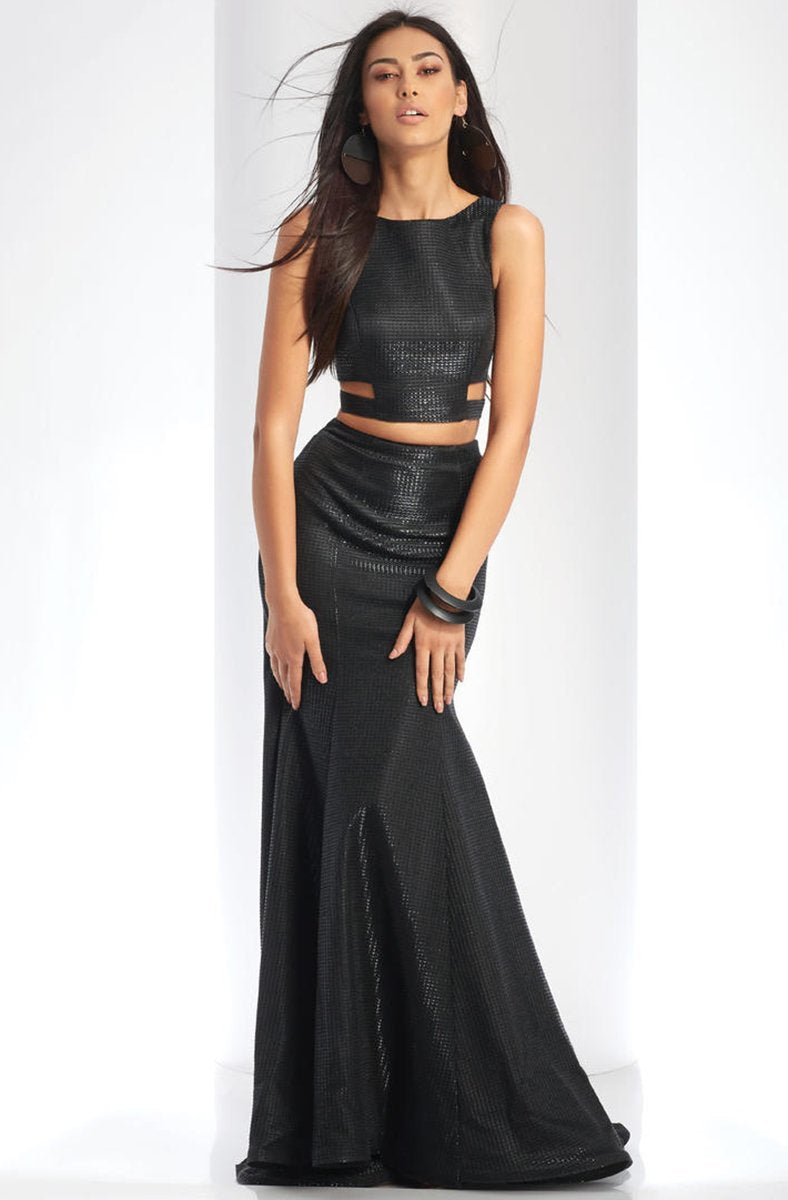 Clarisse - 3486 Two-Piece Novelty Cutout Sheath Gown in Black