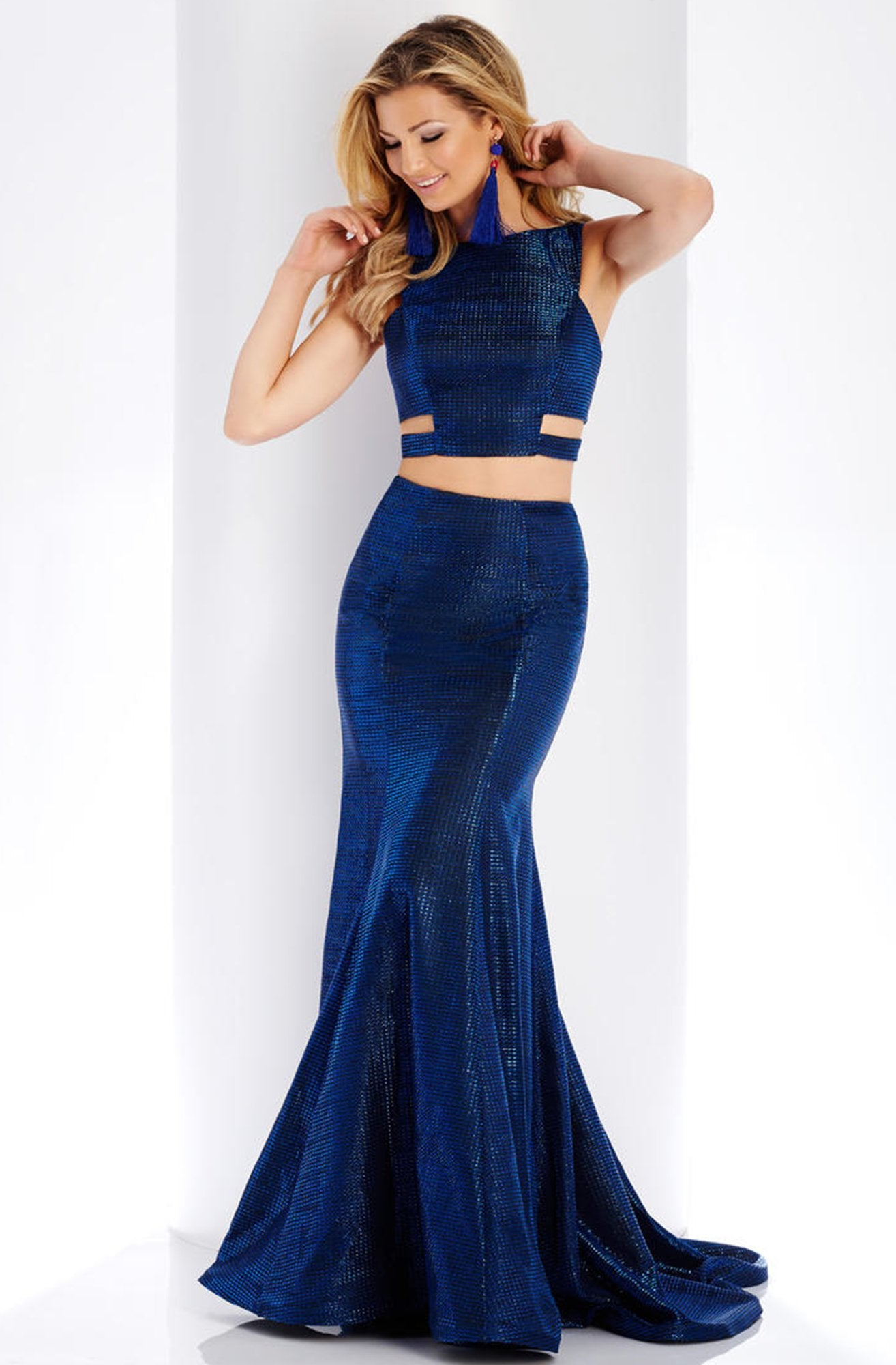 Clarisse - 3486 Two-Piece Novelty Cutout Sheath Gown in Blue