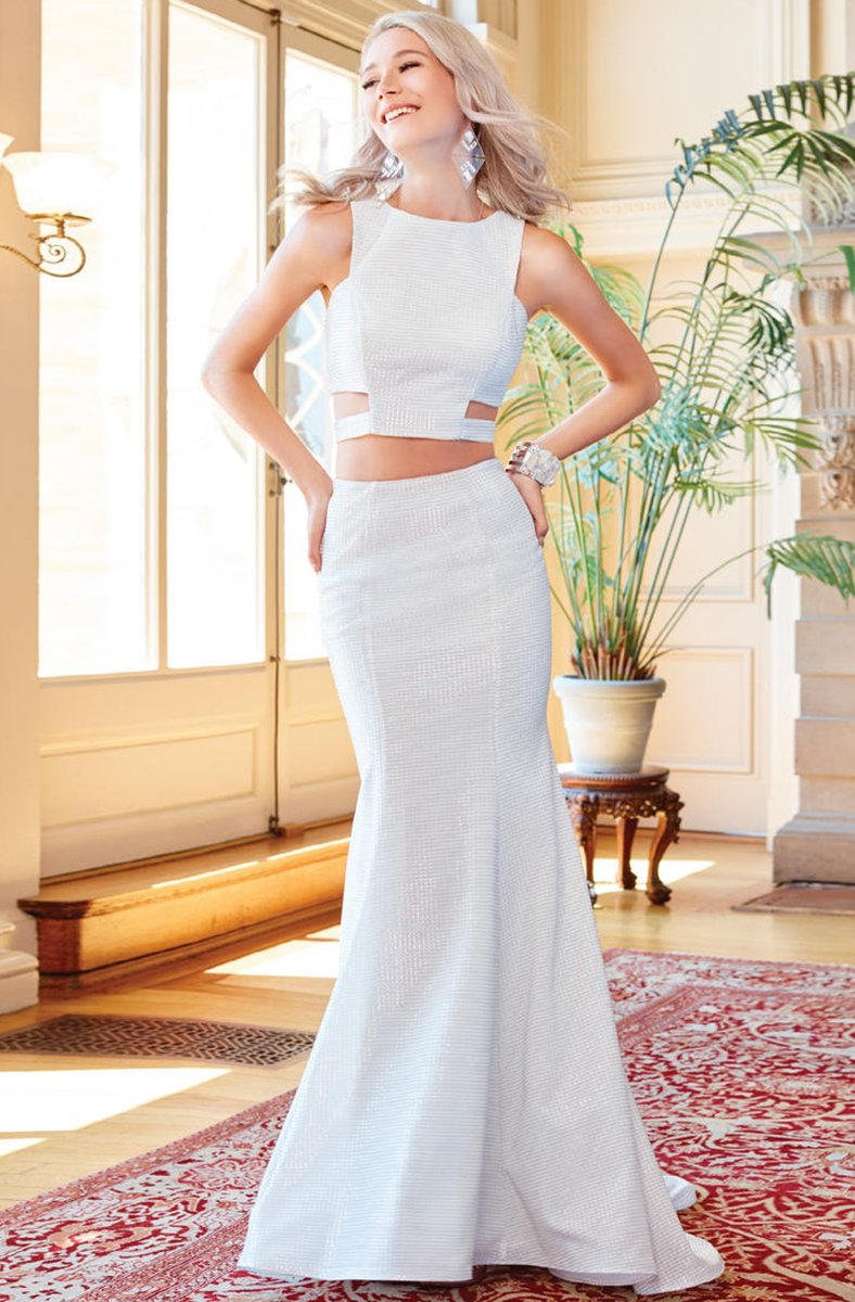 Clarisse - 3486 Two-Piece Novelty Cutout Sheath Gown in White and Silver
