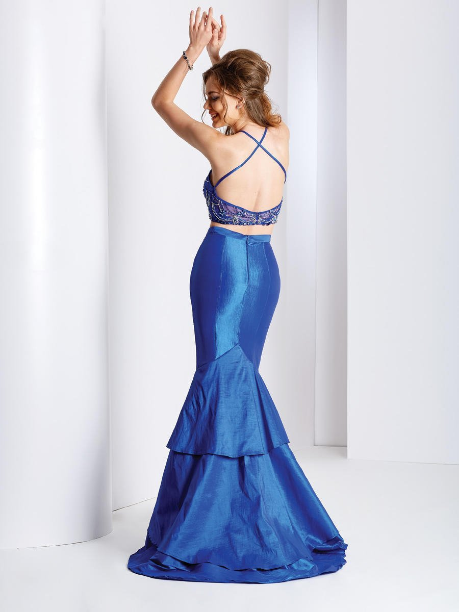 Clarisse - 3488 Halter Neck Two-Piece Taffeta Gown in Blue