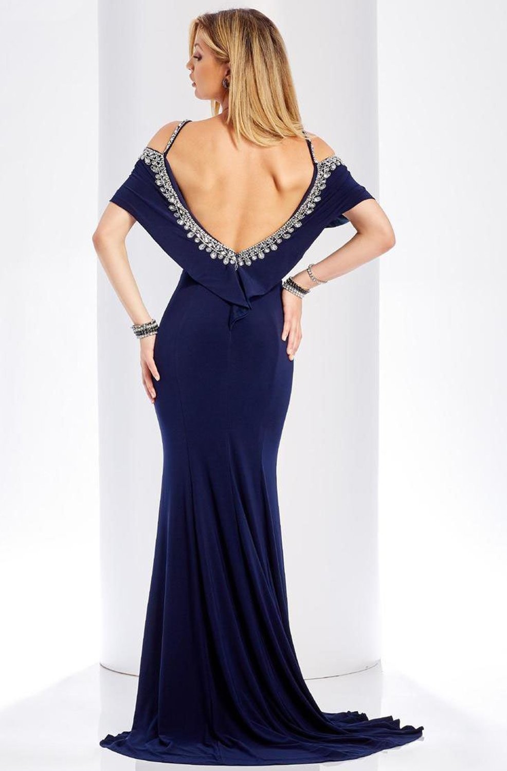 Clarisse - 3497 Jeweled Scoop Neck Sheath Dress in Blue