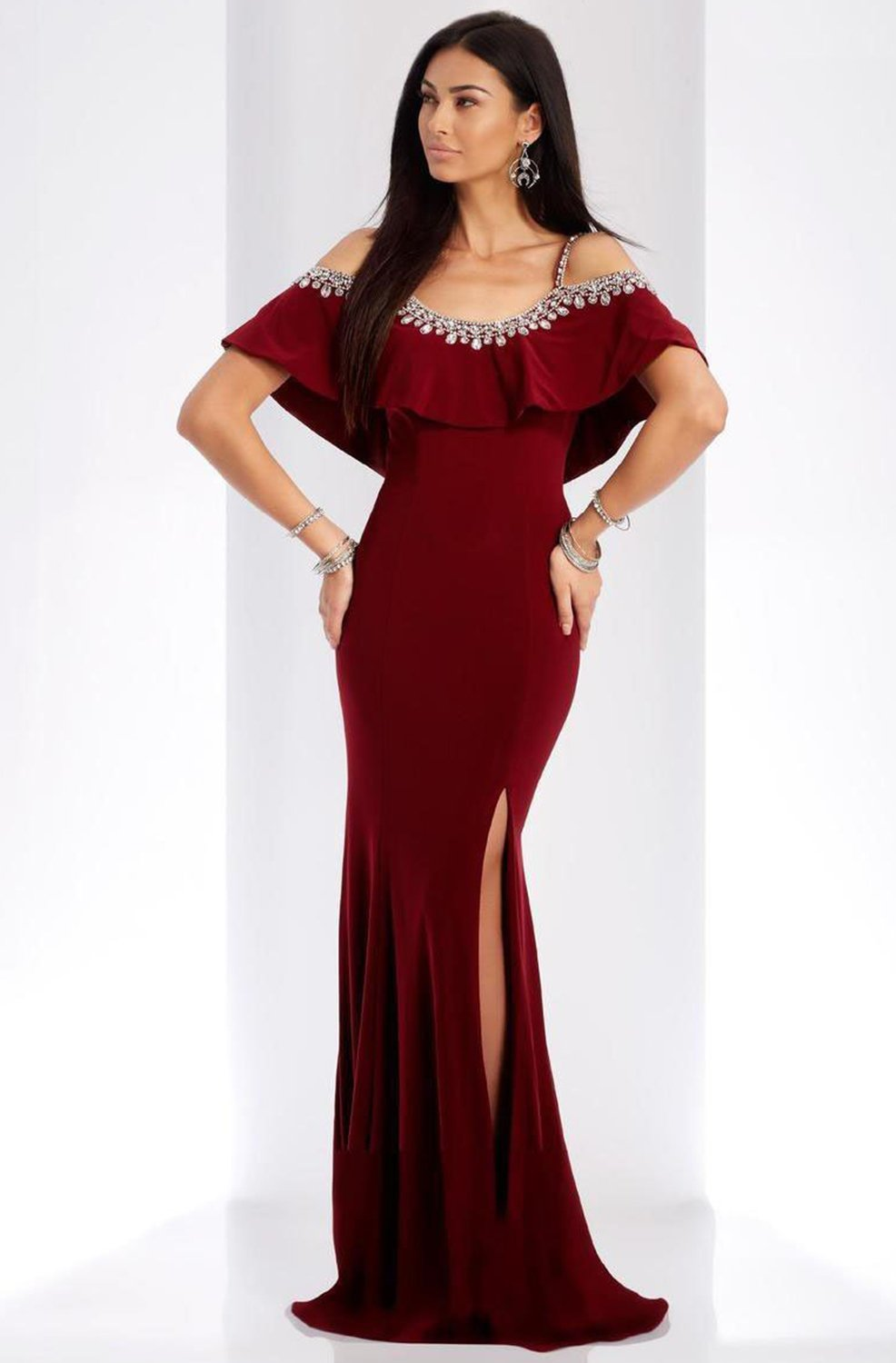 Clarisse - 3497 Jeweled Scoop Neck Sheath Dress in Red