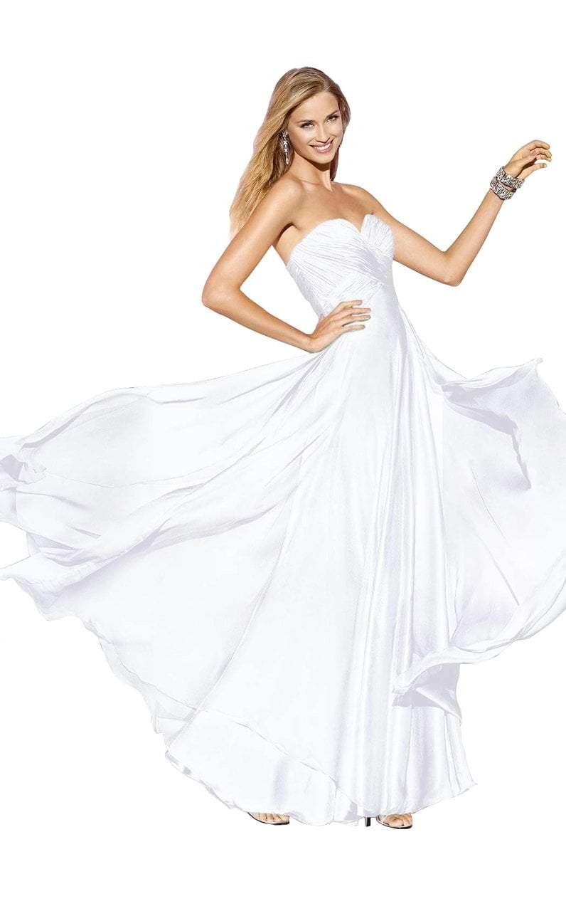 Alyce Paris - 35595 Ruched Strapless Sweetheart Long Gown in White