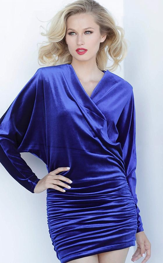 Jovani - 3580 V-Neck Long Sleeves Short Dress In Blue