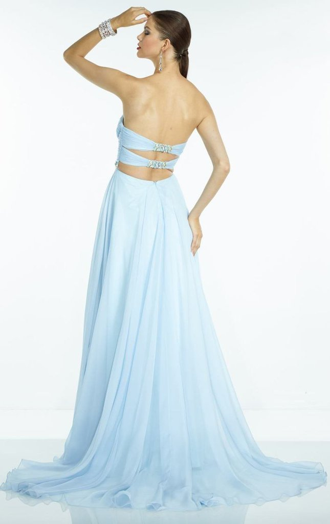 Alyce Paris - 35812 Strapless Sweetheart Neck Ruched Beaded Waist Silky Chiffon Gown In Blue