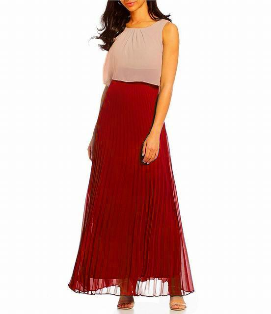 Sangria - DWKO624 Sleeveless Popover Accordion Dress in Red