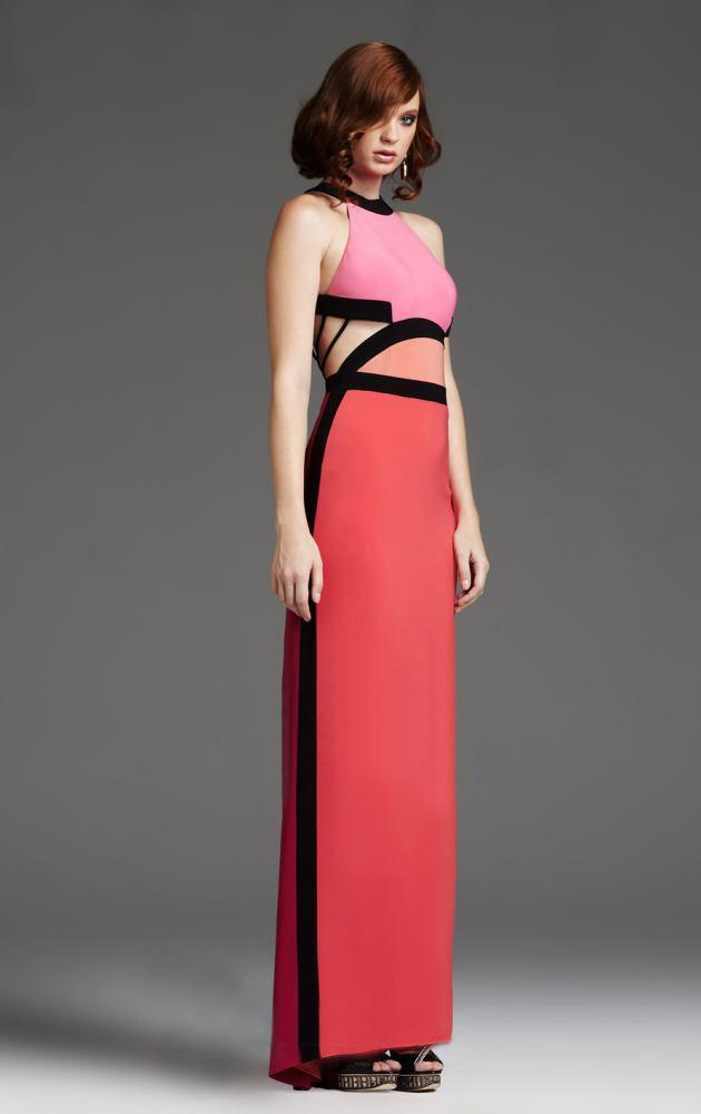 Mignon - VM918BL Halter Color Block Cutout Gown in Pink and Orange