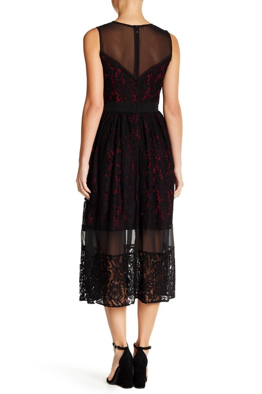 Julia Jordan - 36215 Sleeveless Sheer Lace Tea Length Dress in Black