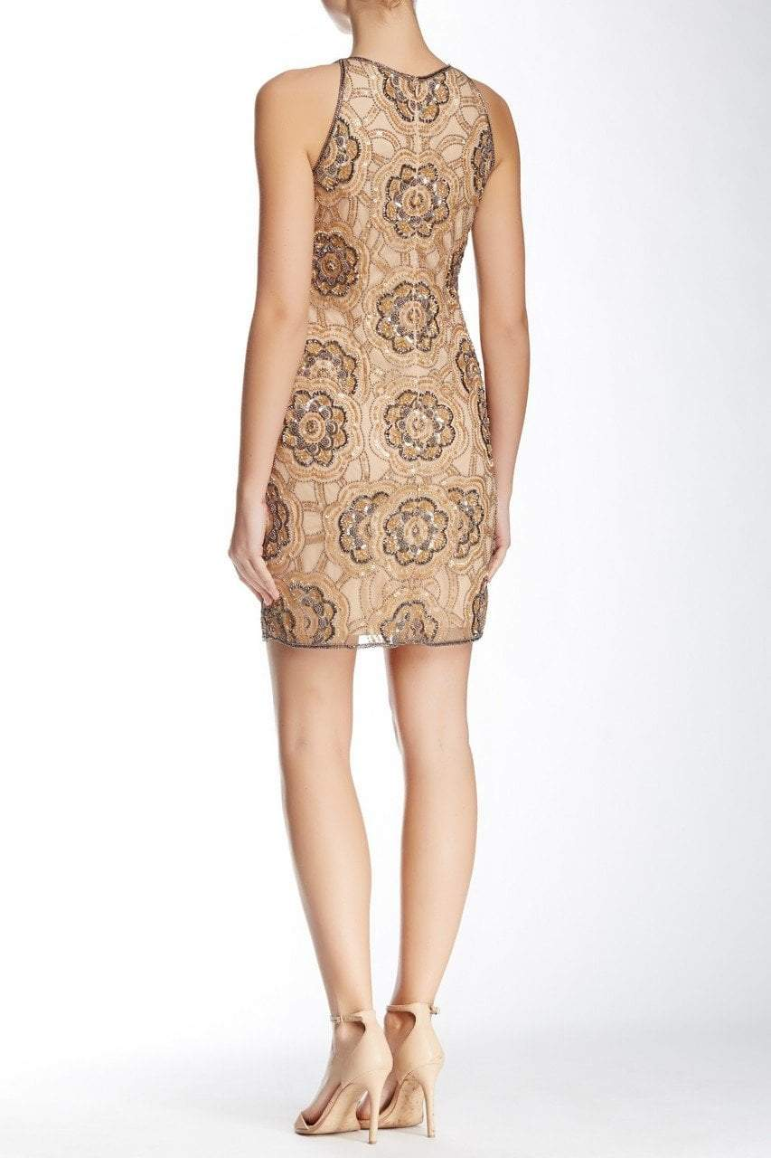 Adrianna Papell - 41897070 Embellished Jewel Sheath Dress in Neutral