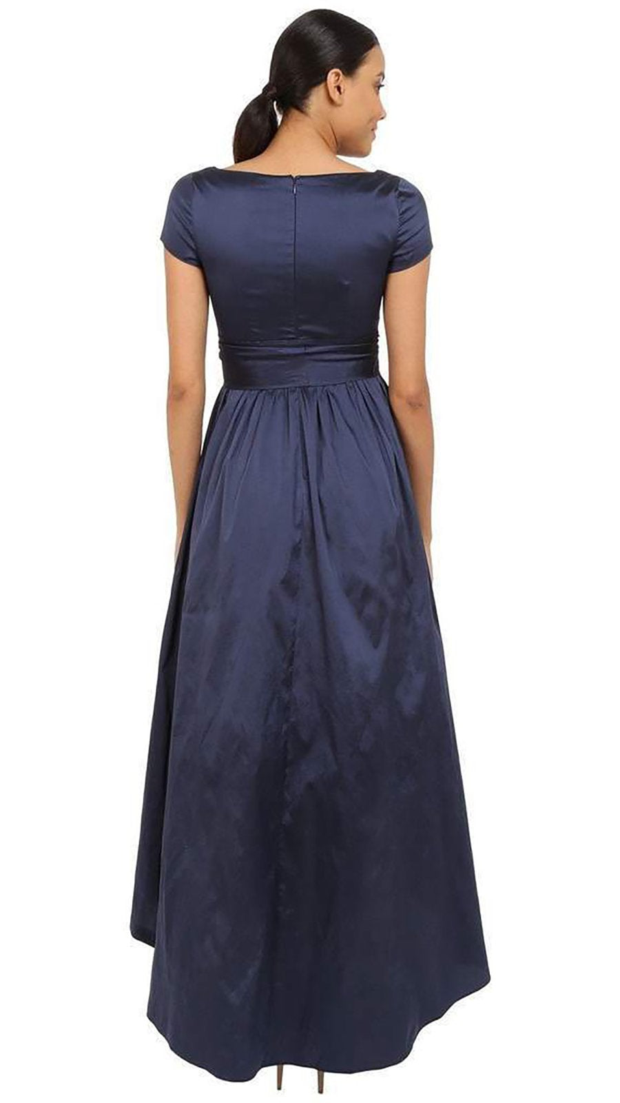 Adrianna Papell V-Neck Ruched Taffeta High-Low Dress 81917430 In Blue