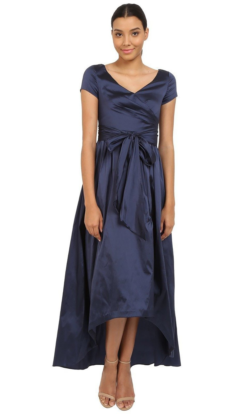Adrianna Papell - 81917430SC Short Sleeve Wrap Taffeta A-Line Dress