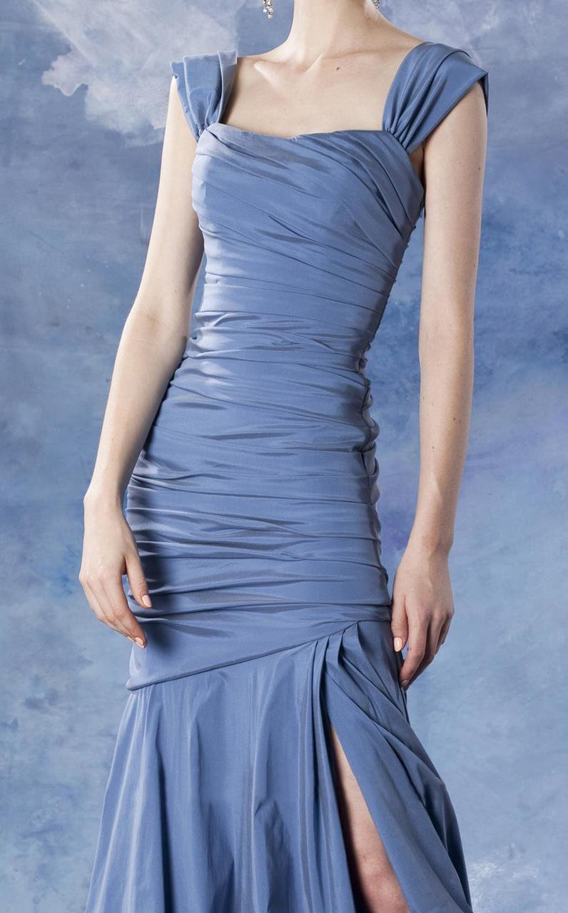 Theia - 881685 Asymmetrical Ruched Mermaid Taffeta Gown in Blue