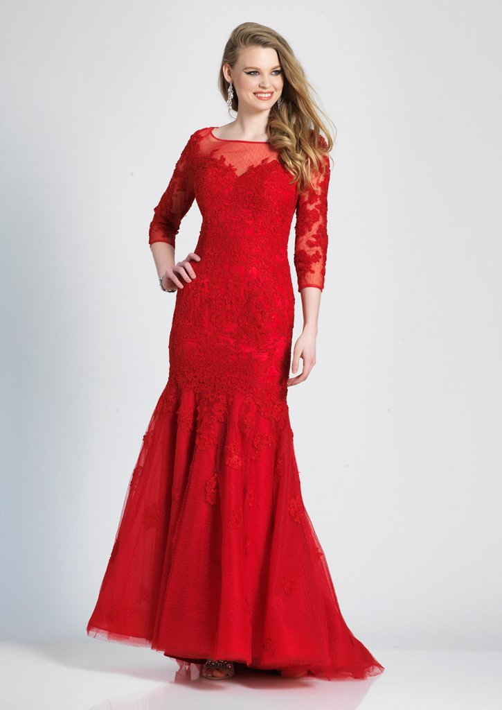 Dave & Johnny - 3756 Quarter Length Sleeve Lace Trumpet Dress In Red