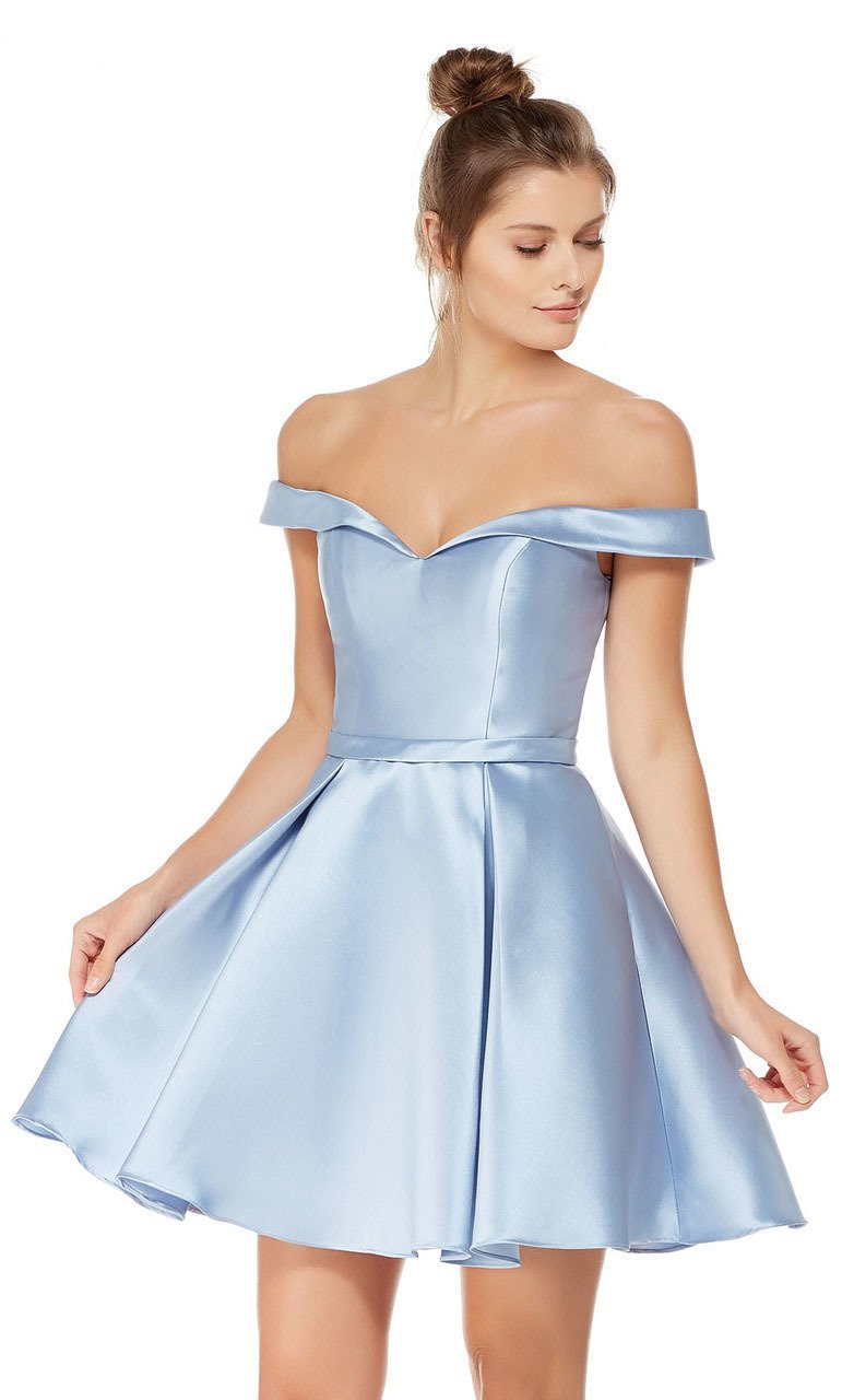 Alyce Paris Sleek Off Shoulder Mikado A-Line Dress 3766 in Blue