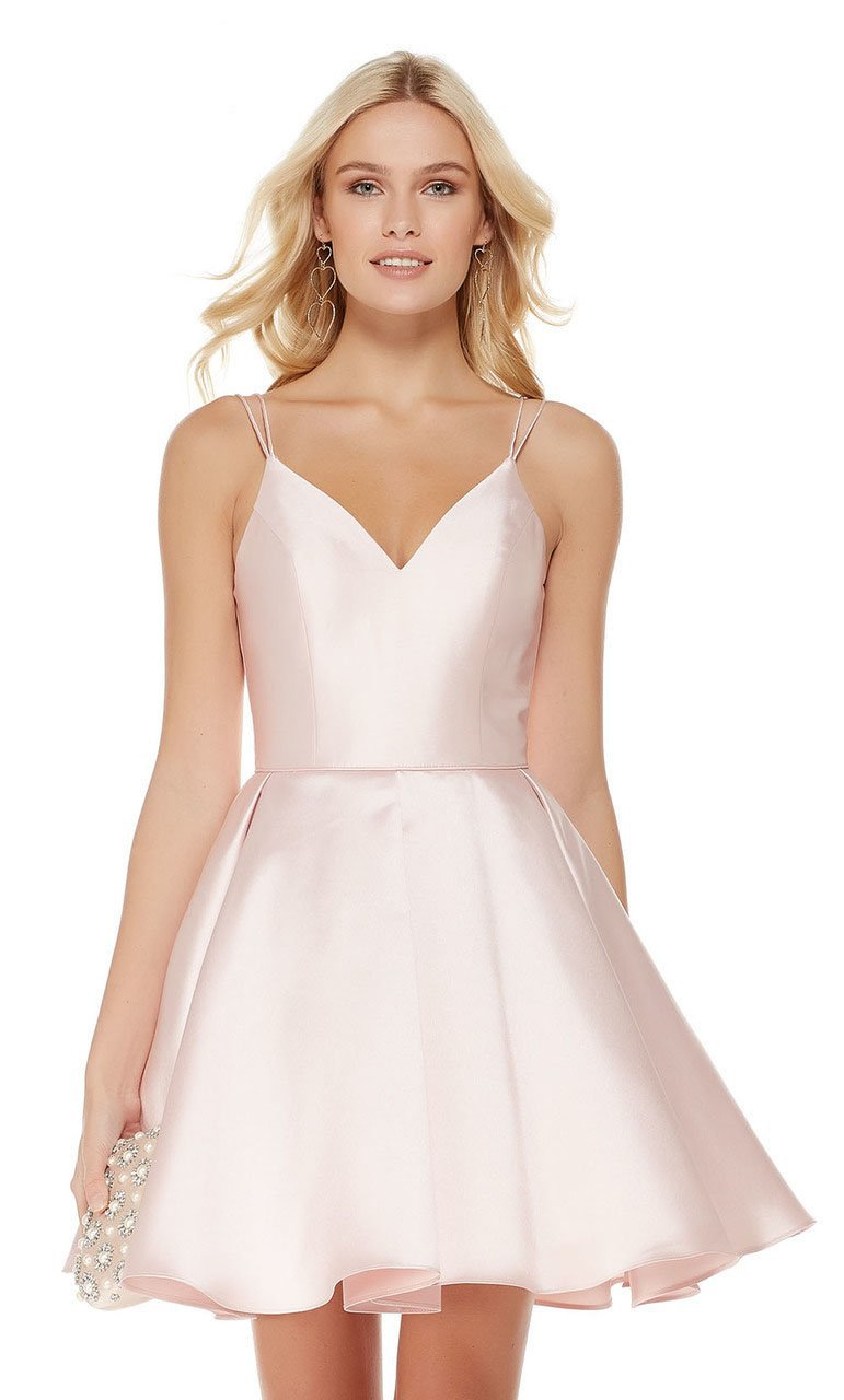 V Neckline Mikado Fit and Flare Cocktail Dress in Pink