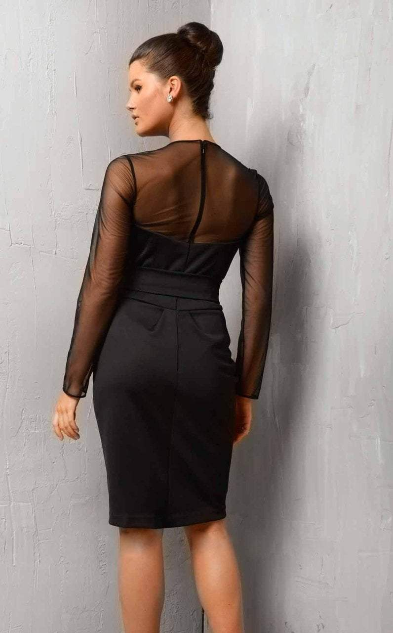 Jovani - 1590 Sheer Plunging Cocktail Dress in Black