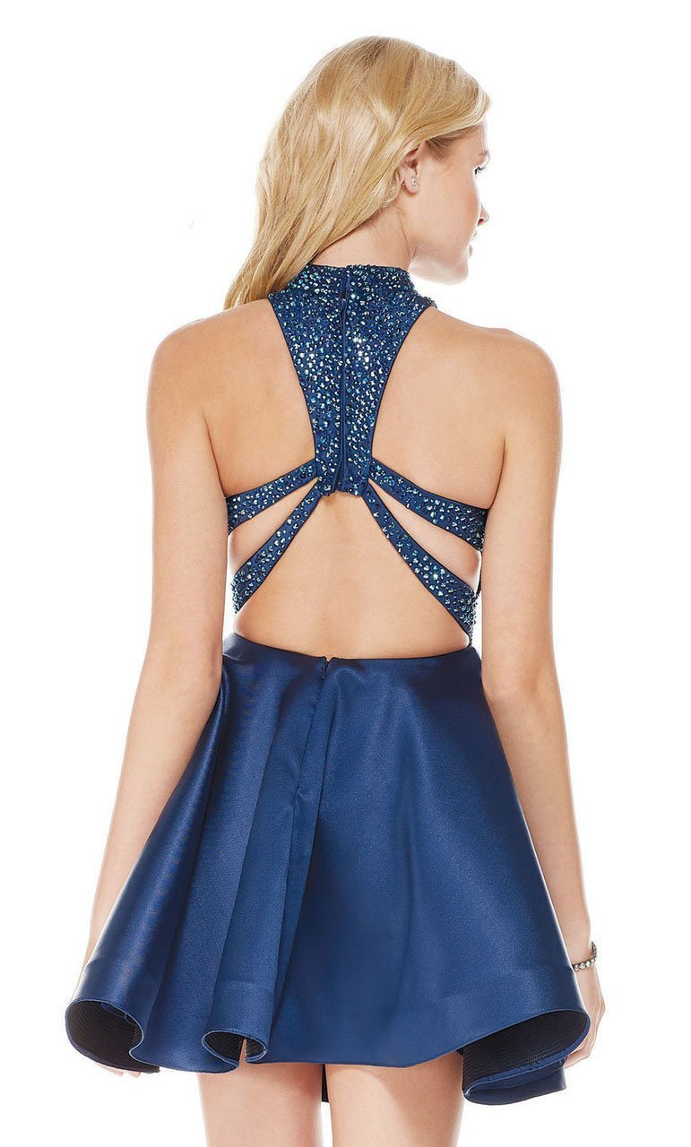 Plunging Cutout Asymmetrically Tiered Dress in Blue