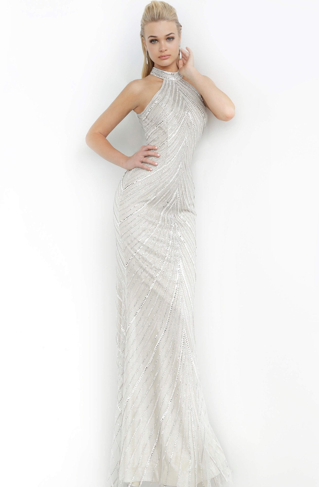 Jovani - 3833 Embellished High Halter Trumpet Dress In Neutral and Silver