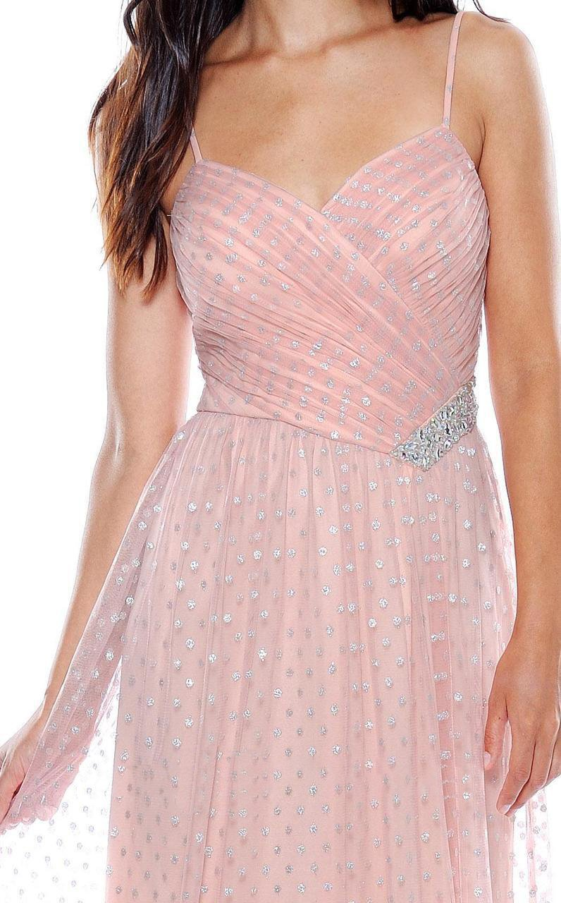 Decode 1.8 - 181963 Bejeweled V-neck Sheath Dress in Pink and Silver