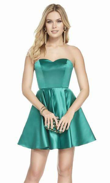 Alyce Paris - 3871 Strapless Sweetheart Luxe Silk Satin Cocktail Dress Special Occasion Dress 000 / Emerald