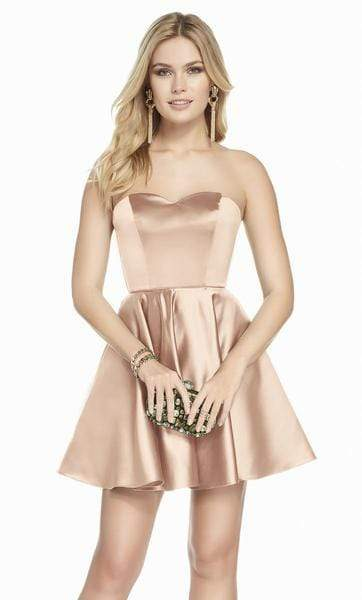 Alyce Paris - 3871 Strapless Sweetheart Luxe Silk Satin Cocktail Dress Special Occasion Dress 000 / Rosegold