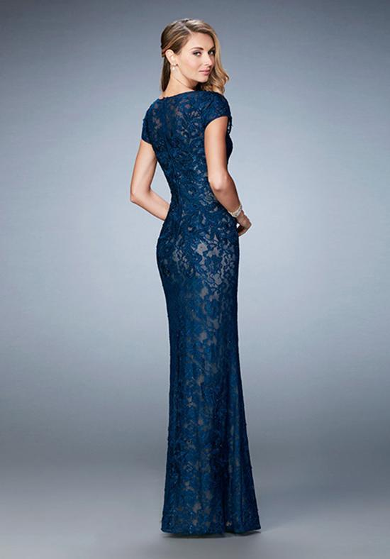 La Femme Embroidered V Neck Lace Sheath Evening Dress 23071 In Blue