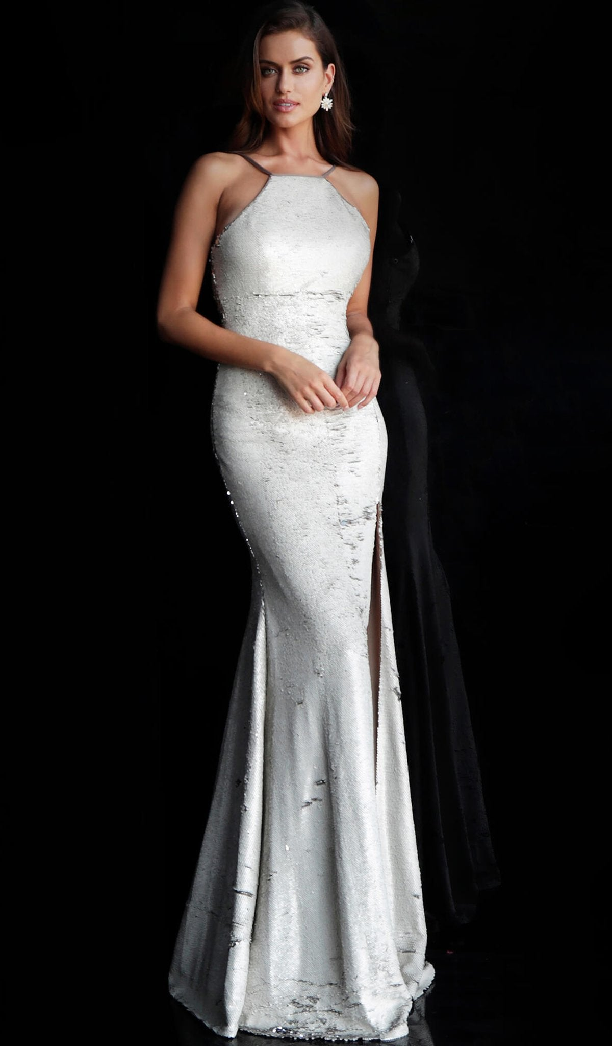 Jovani - 63923 Reverse-Sequined High Slit Mermaid Gown in Silver