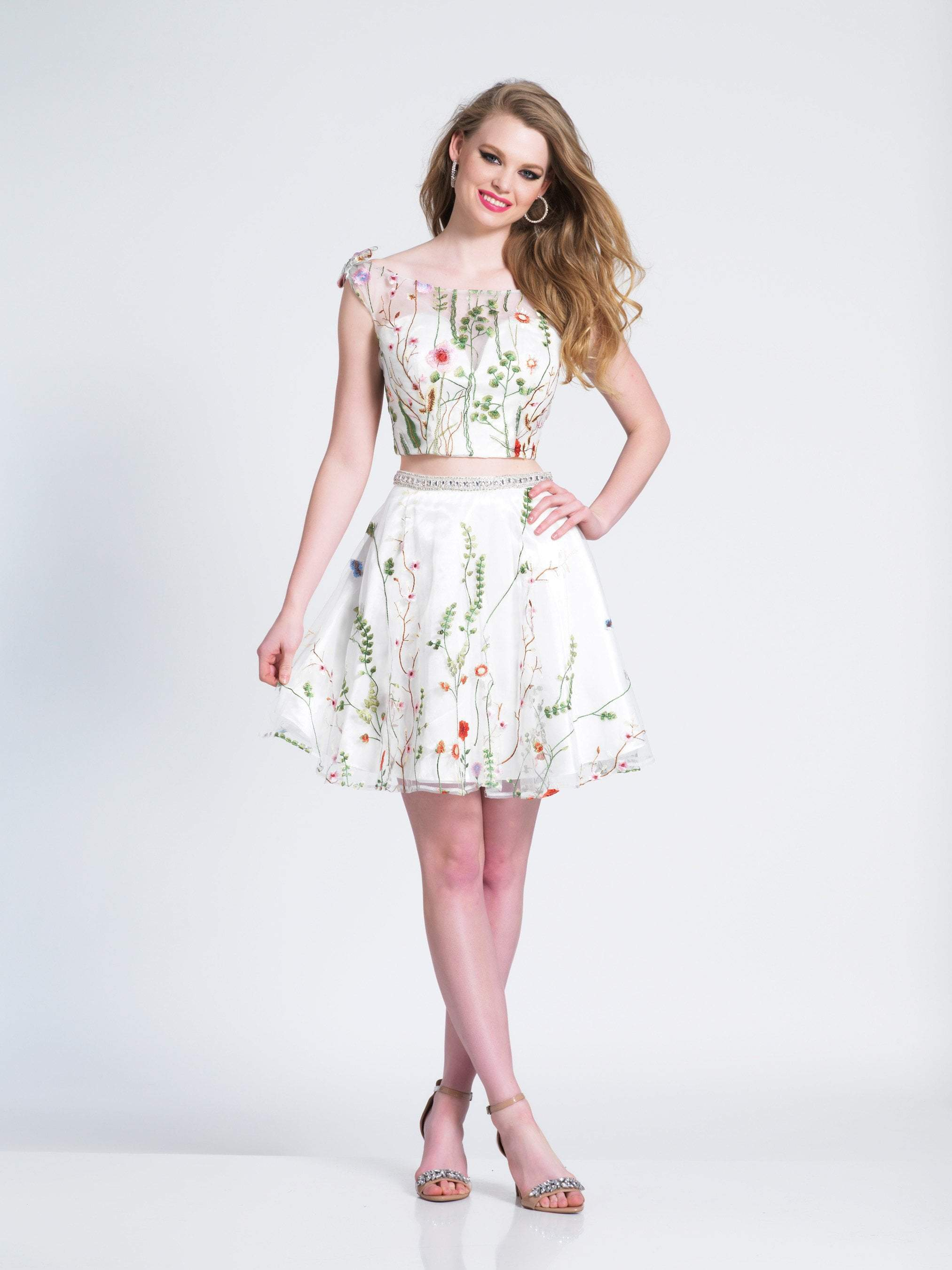 Dave & Johnny - Two Piece Floral Embroidered A-line Dress 3982  In White