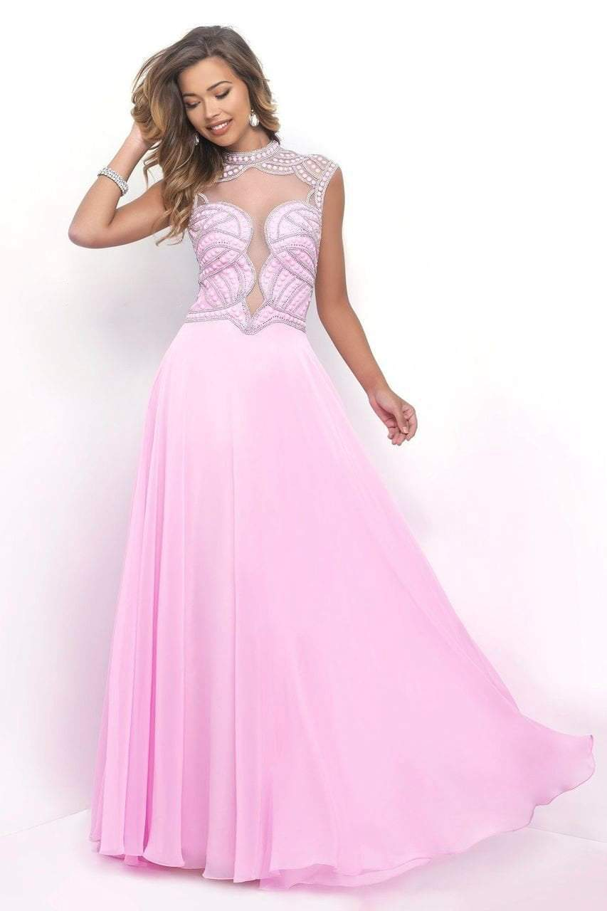 Blush - 11348 Flowing High Plunging Chiffon A-Line Gown Special Occasion Dress 0 / Bubble Gum
