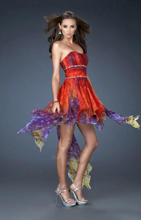 La Femme - High Low Print Homecoming Dress 18051 In Red and Multi-Color