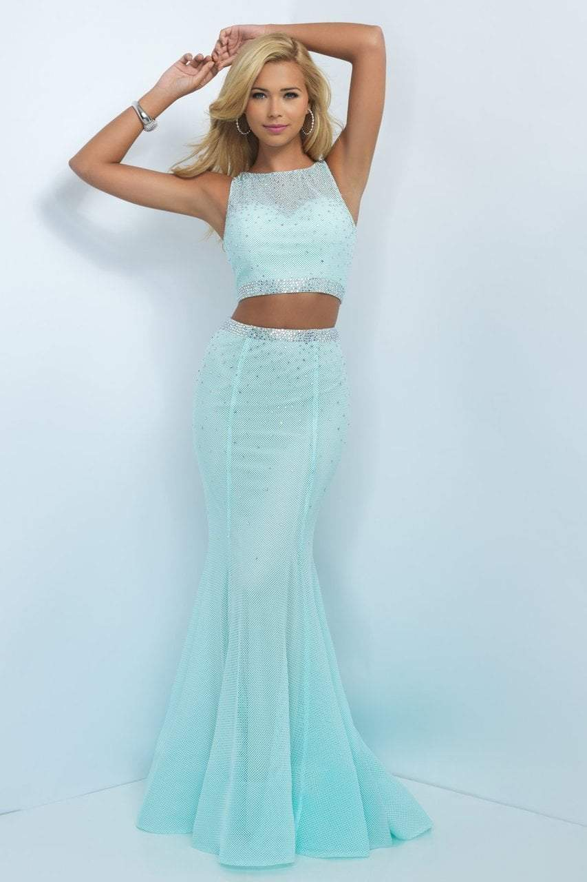 Blush - 11033 Two-Piece Sparkling Bare Midriff Trumpet Gown Special Occasion Dress 0 / Aqua