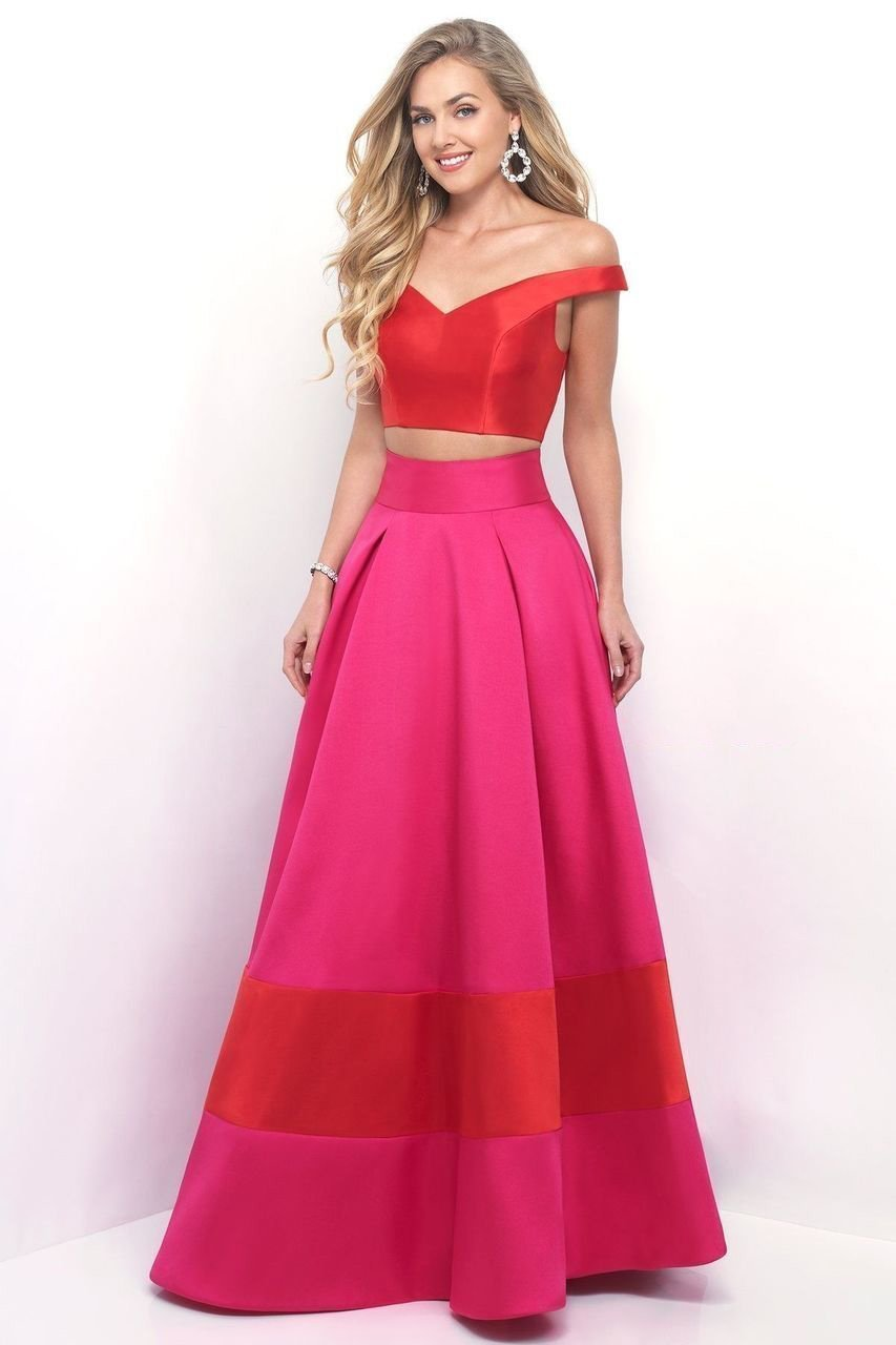 Blush by Alexia Designs - 5620 Vibrant Off-Shoulder Sleek A-Line Gown Special Occasion Dress 0 / Valentine/Hot Pink