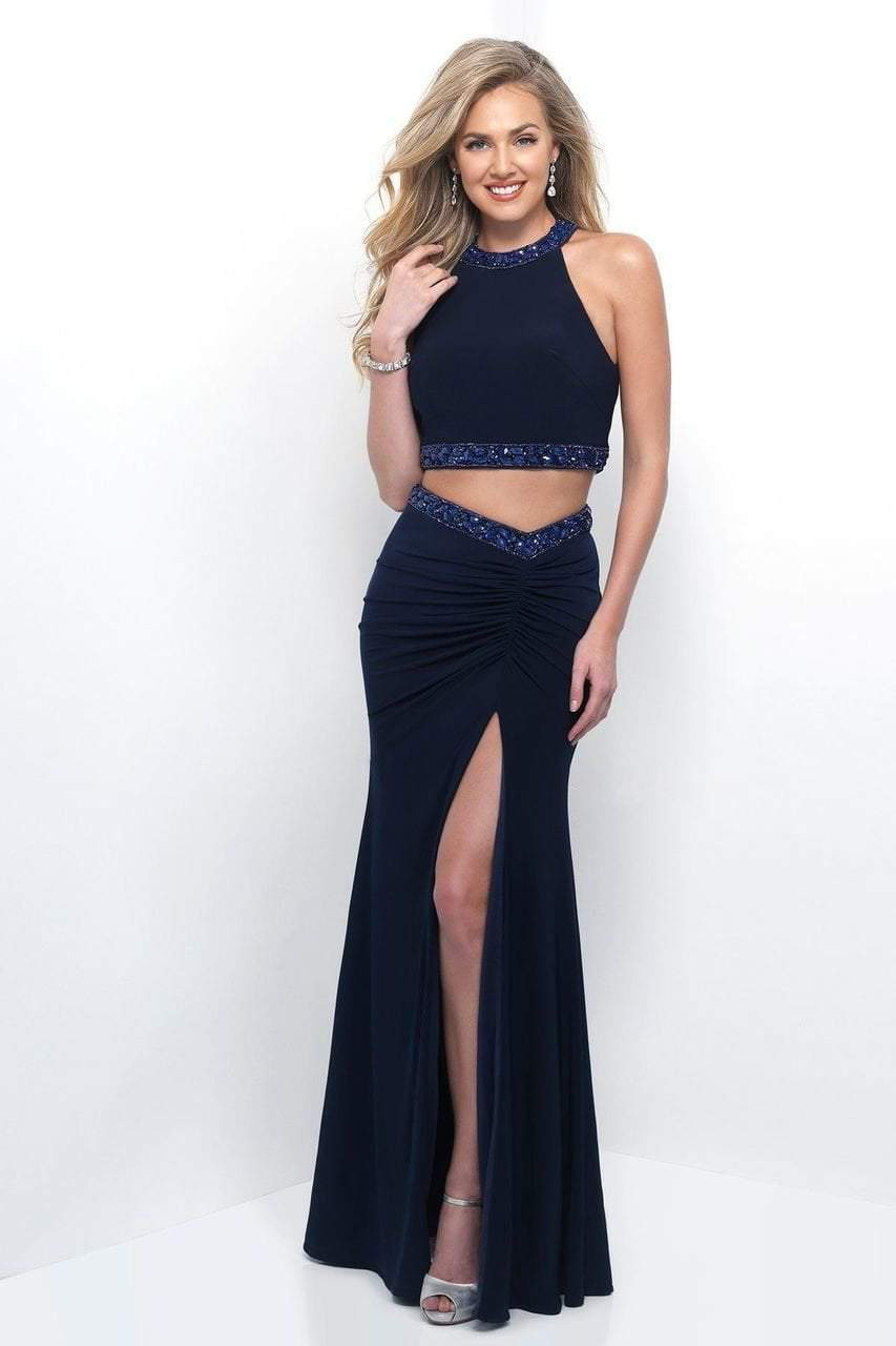 Blush - 11284 Two Piece Halter Top with Sarong Style Skirt Dress Special Occasion Dress 0 / Navy
