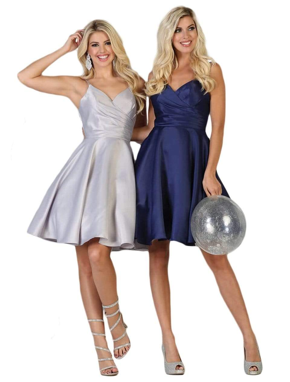 May Queen - MQ1654 V Neck Sleeveless Fit and Flare Short Dress In Silver and Blue
