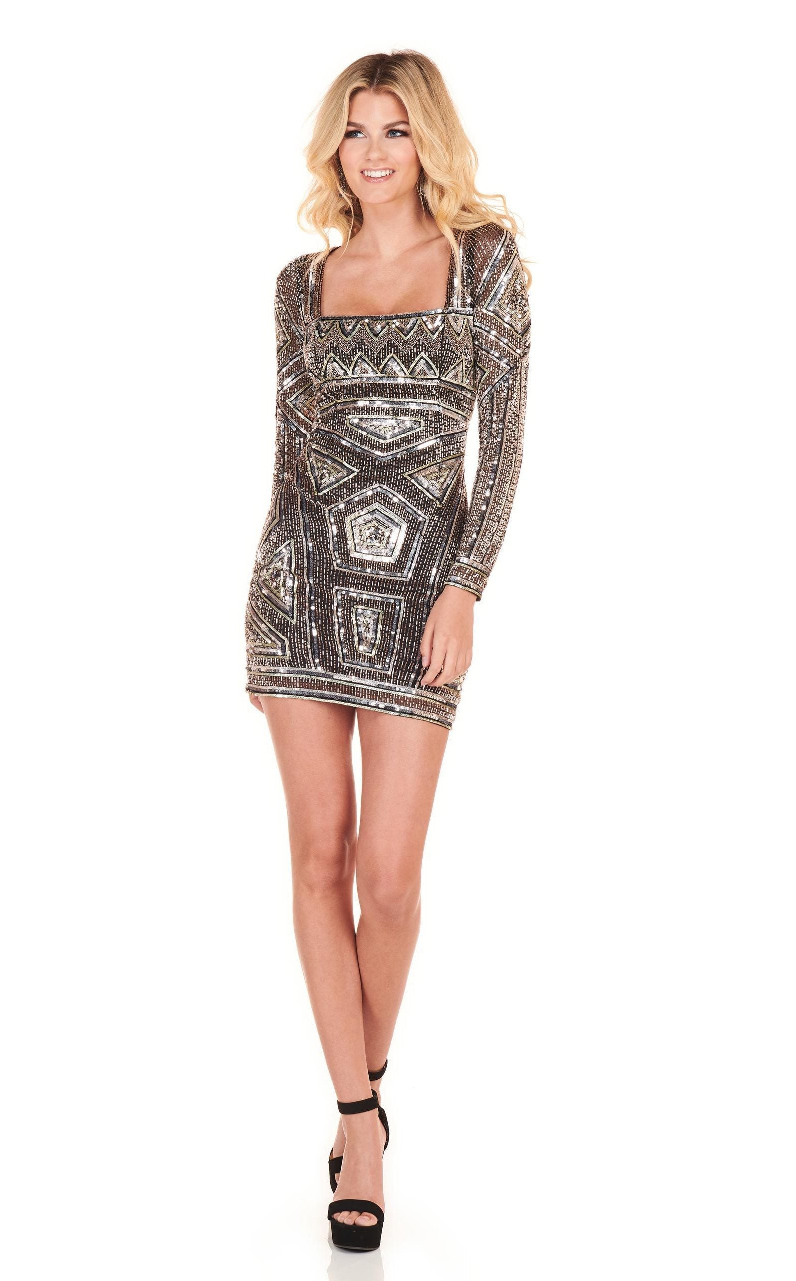 Rachel Allan Homecoming - 4000 Embellished Long Sleeves Cocktail Dress In Black and Silver